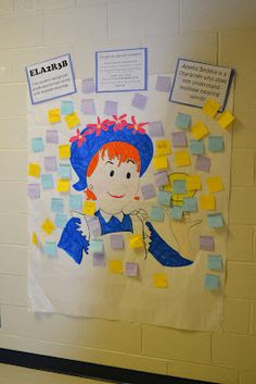 """Inferring meaning of words with Amelia Bedelia.  the different color of sticky notes are to write """"multiple meaning words"""" on with explanations of how Amelia Bedelia gets everything balled up. We had a blast reading about Amelia Bedelia."""