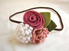 3 lovely pink wool felt flowers