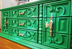 $595. 70's Mediterranean Rococo Style Dresser -Painted in lacquer Kelly Green! SUPER SALE