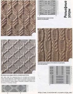 This is from a Russian website with a lot of charted stitch patterns. Cable Knitting Patterns, Knitting Stiches, Knitting Charts, Lace Knitting, Knitting Designs, Crochet Yarn, Knit Patterns, Knitting Projects, Crochet Stitches