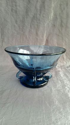 Bowl, Jacob Bang Denmark, waterblue glass, about 1925 - 30, very rare, Www.collectorscorner-fj.com