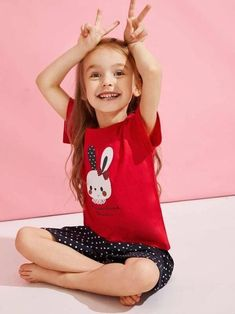To find out about the Toddler Girls Rabbit Print Polka Dot PJ Set at SHEIN, part of our latest Toddler Girl Loungewear ready to shop online today! Fashion News, Kids Fashion, Kids Girls, Toddler Girls, Girls Sleepwear, Sporty Girls, Kids Swimwear, Pj Sets, Girl Cartoon