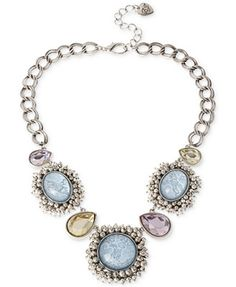 Betsey Johnson Silver-Tone Star and Cloud Cabochon Frontal Necklace