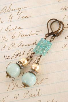 USE SMOOTH AQUA CZECH RECTANGLES............................Sadie.amazonite and apatite,vintage pearl,rhinestone earrings. Tiedupmemories