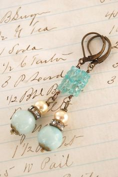 Sadie.amazonite and apatite,vintage pearl,rhinestone earrings. Tiedupmemories