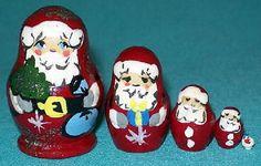 4 Santas & Snowman. CHRISTMAs. Fun little miniature 5 piece