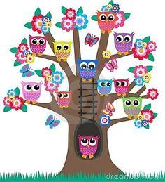 δέντρο με κουκουβάγιες