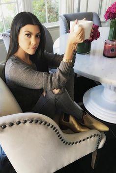 Kourtney Kardashian wearing Saint Laurent Wyatt Chelsea Boots Gold, J Brand Mid Rise Skinny , Cartier Love Bracelet