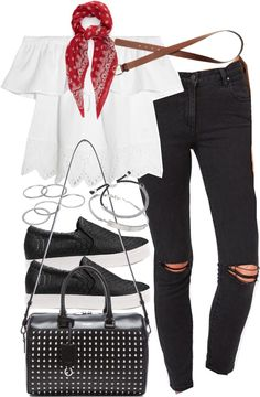 Outfit for casual Friday at work by ferned featuring silver jewelry Madewell white shirt / Clothing / Slip-on shoes / Yves Saint Laurent handbag, 2 155 AUD / Links of London silver jewelry, 185 AUD / Michael Kors bracelet, 81 AUD / Apt 9 ring, 12 AUD...