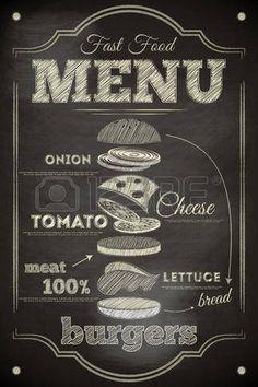 Burger cartel en la pizarra. Hamburger Ingredientes. Ilustraci�n vectorial. photo