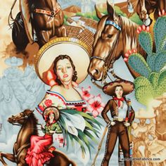 Charras Cowgirls in bright from Folklorico Collection by Alexander Henry Fa