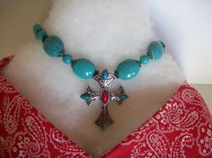 blue stone necklace with silver cross with by thelemontreeshoppe, $25.00