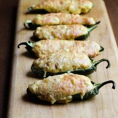 Jalapeño halves filled with cornbread for a perfect party appetizer. The Wimpy Vegetarian #Secret Recipe Club