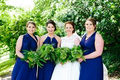 Blue bridesmaids dresses | Barnabrow Country House real wedding | www.onefabday.com