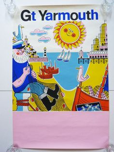 Travel poster Harry Stevens Great Yarmouth 1970's by planetutopia on Etsy https://www.etsy.com/listing/248183797/travel-poster-harry-stevens-great