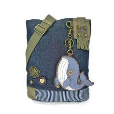 Patch Crossbody Bag-Whale, Denim Blue, 10 x 4 x 10.5 in