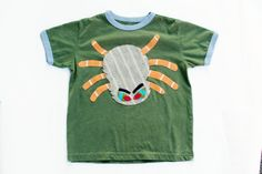Boys Halloween Shirt Spider Applique Size 7 by TrashN2Tees on Etsy, $28.00