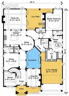 Plan Mediterranean Photo Gallery Luxury Florida Premium Collection European House Plans Home Designs The Plan, How To Plan, Dream House Plans, House Floor Plans, My Dream Home, Home Design, Plan Design, Casas The Sims 4, Courtyard House Plans