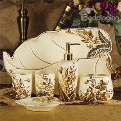 Material: Ceramic Type: Six-Piece Set * Type:Bathroom Ensembles Material:Ceramic Lotion Features -Luxury gold trim -Ceramic material Style:Conte Bathroom Accessories Luxury, Contemporary Bathroom Designs, Bathroom Design Inspiration, Rustic Bathrooms, Luxury Bathrooms, Bath Remodel, Decoration, Ceramics, Retail Price