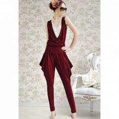 $14.52 Fashionable and Slimming Solid Color Wine Red Harem Jumpsuit For Women