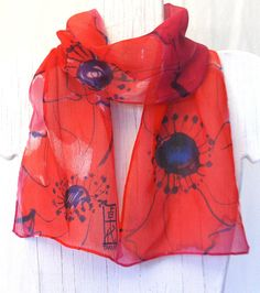 Hand Painted Silk Scarf, Ruby Red Poppies Scarf. Red Silk Scarf. Sik Chiffon Scarf. Silk Dye. Approx 7.5x52 in. Made to order.