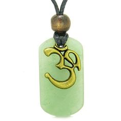 Ancient OM Tibetan Amulet Magic and Protection Powers Green Quartz Tag Pendant Necklace #hinduweddings