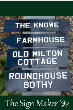 These metal house signs are made from rust-proof alluminium and embossed using the same traditional methods that were used to make old style number plates. They are then sprayed with stoving enamel before being cured in an oven to make the signs extremely durable. These particular signs were painted in crucible black and artic white enamel but there are 20 enamel colours available. Metal House Signs, Number Plates, Maker Shop, Arrow Signs, Sign Maker, Round House, Home Signs, Just The Way, White Enamel