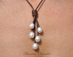 Perla y perla de collar - perlas grande 15mm - cuero y joyería - collar de cuero - cuero y lazo de perlas - perlas de agua dulce