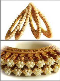 Matariya Gold Basras :: Four vintage bangles that are popularly known as Matariya in Bikaner. Basra pearls studded in shape of flowers with leaves and stems in gold. Studded with Basra pearls weighing 30 gms and made with 200 gms of 22K Gold. Handmade in Bikaner. SKU: 0007 www.sannu.in