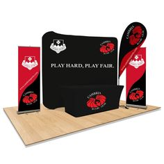 Trade Show Display Booth. Rugby Gear, Flag Pole Kits, Table Throw, Retractable Banner, T Bag, Banner Stands, Brand Promotion, Creative Flyers, Interior Concept