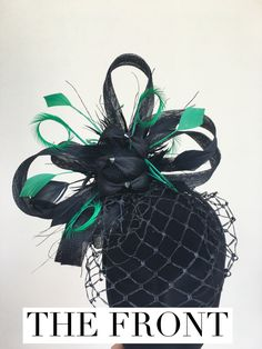 Green and Black Fascinator $205