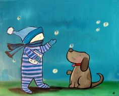 Fireflies and Dog Kids Wall Art Original Painting от andralynn