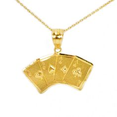 10k Yellow Gold Playing Cards Necklace ($89) ❤ liked on Polyvore featuring jewelry, necklaces, yellow gold pendant necklace, charm pendants, pendant necklaces, gold charms and gold chain pendant