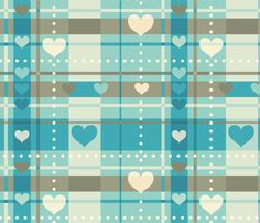 Hearty Plaid fabric by heartsandlaserbeams on Spoonflower - custom fabric blue heart pattern Paper Scrapbook, Scrapbook Background, Printable Scrapbook Paper, Printable Paper, Paper Background, Background Patterns, Unicornios Wallpaper, Wallpaper Iphone Cute, Pattern Wallpaper