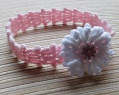 Crochet Pattern 156 Baby Headband with a Pink by handknitsbyElena