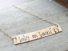Baby on Board, Hand Stamped Gold Bar Necklace. Minimalist Jewelry, Engraved Necklace. Layering Necklace for Expectant Mother, Pregnancy