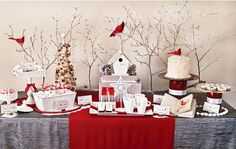 Cardinal Red and Birch Bark Holiday Christmas Dessert Table Party Decor Printables - Complete Collection Christmas Buffet, Christmas Time, Christmas Holidays, Christmas Sweet Table, Christmas Ideas, Christmas Bark, White Christmas, Vintage Christmas, Dessert Party