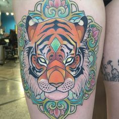 Round 2 on mandala tiger and she's finished. So much fun!! #tiger #mandala…