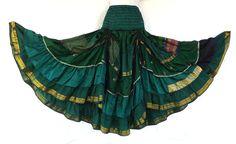 Steampunk Boho Gypsy Belly Dance Costume Vintage Silk Tiered Skirt Green #Skirt
