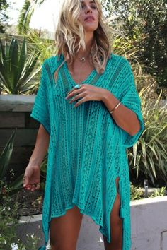 0bcb715864 (US$ 8.63) Mint Crochet Knitted Tassel Tie Kimono Beachwear Swimwear Cover  Ups,