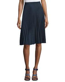 MICHAEL Michael Kors Mid-Rise Plisse Skirt, New Navy