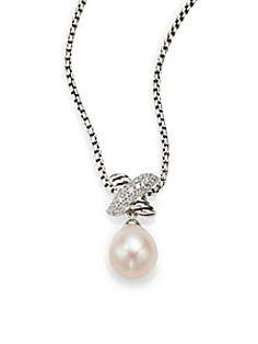 David Yurman - Pearl, Diamond & Sterling Silver Pendant Necklace