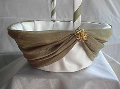 2 Piece Set Flower Girl Basket and Ring Bearer Box Pillow Ivory Olive Green or Custom Made to your Colors with Swarovski Crystals Flower : flower girl basket Craft Wedding, Wedding Gifts, Honey Packaging, Basket Tray, Essense Of Australia, Pillow Box, Ring Pillow, Flower Bouquet Wedding, Gown Wedding