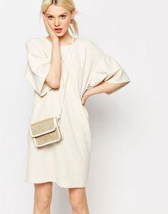 Monki+Textured+Drop+Shoulder+Dress