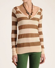 Free People Striped Rugby V-Neck Sweater