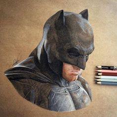 Ben Affleck as Batman pencil illustration by Godot_23