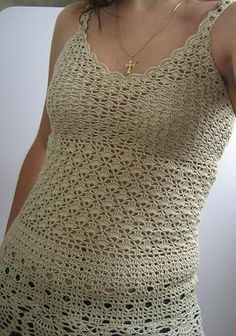 "Crochet Top. ~  ♡ I LIKE THE MIDDLE AND THE TOP PATTERNS. I WOULD JUST KEEP GOING ALL THE WAY DOWN WITH THE MIDDLE PATTERN, MAYBE INCREASING AS I GO TO CREATE MORE OF AN ""A"" FRAME.  ♥A"