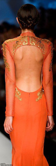 What Ellaria Sand would wear, Abed Mahfouz Fall/Winter Abed Mahfouz, Costura Fashion, Jaune Orange, Backless Gown, Orange Fashion, Orange Crush, Orange Is The New Black, Fashion Details, Net Fashion