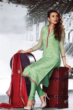 Gorgeous Sea Green Chiffon Pakistani Style Straight Cut Suit