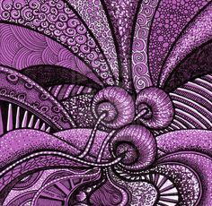 "Purple 1 by *Artwyrd on deviantART: White and Black Pen and Ink on purple paper. 4"" x 4"""